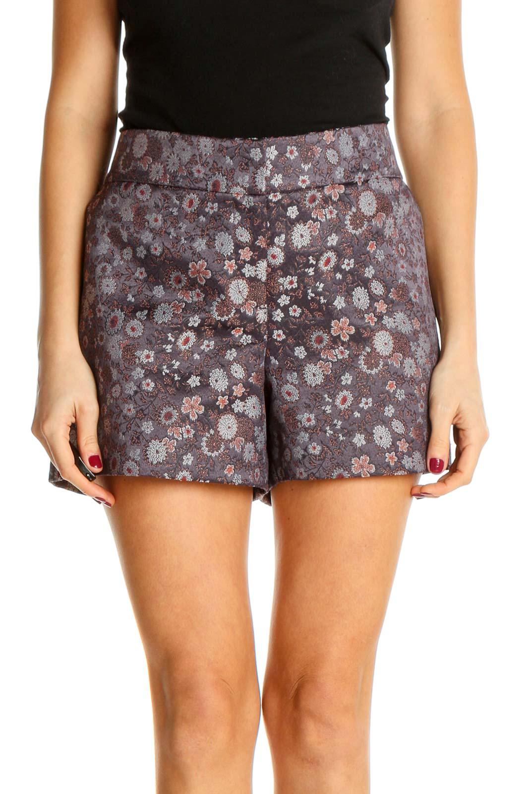 Brown Printed Holiday Shorts Front