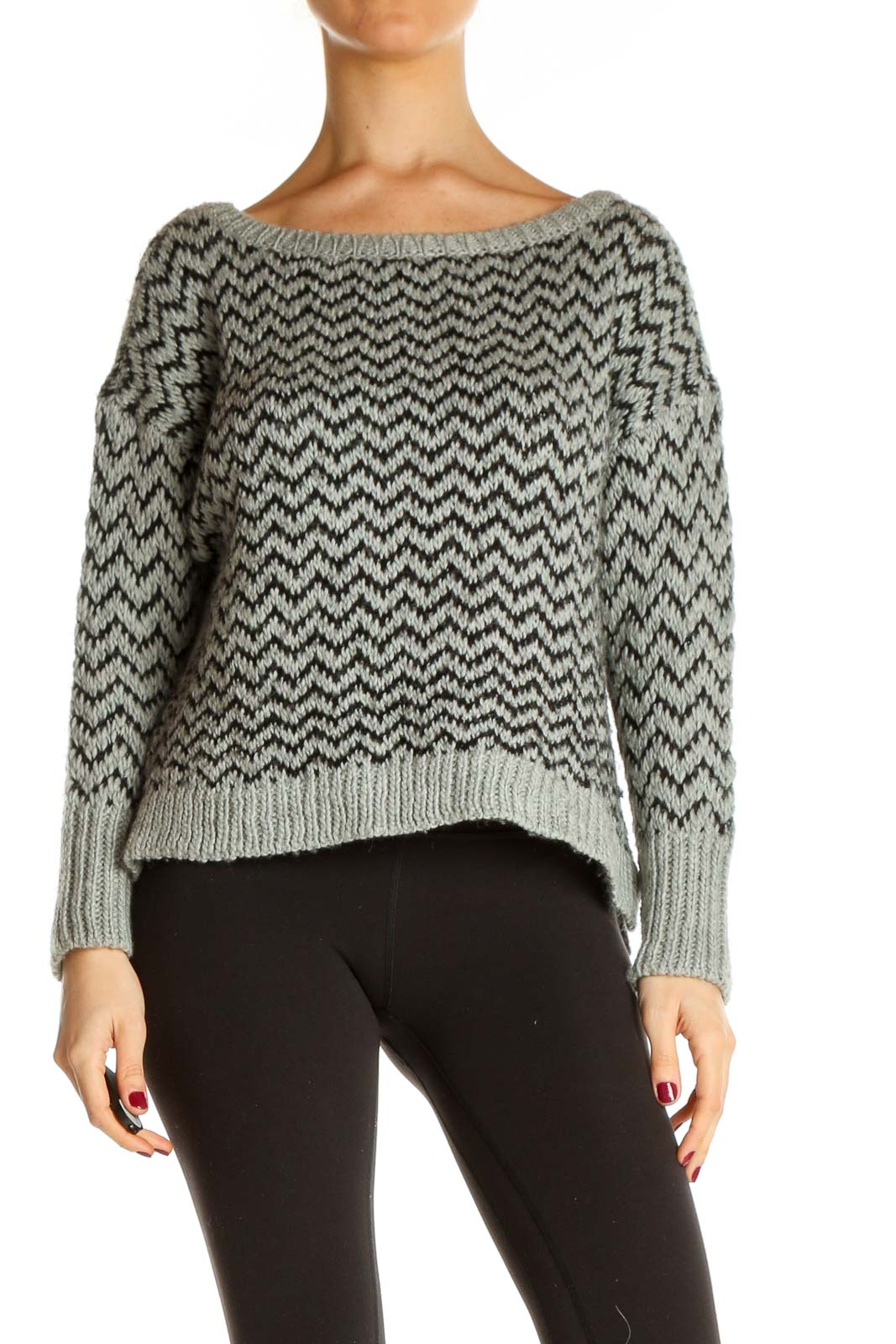 Gray Chevron All Day Wear Sweater Front