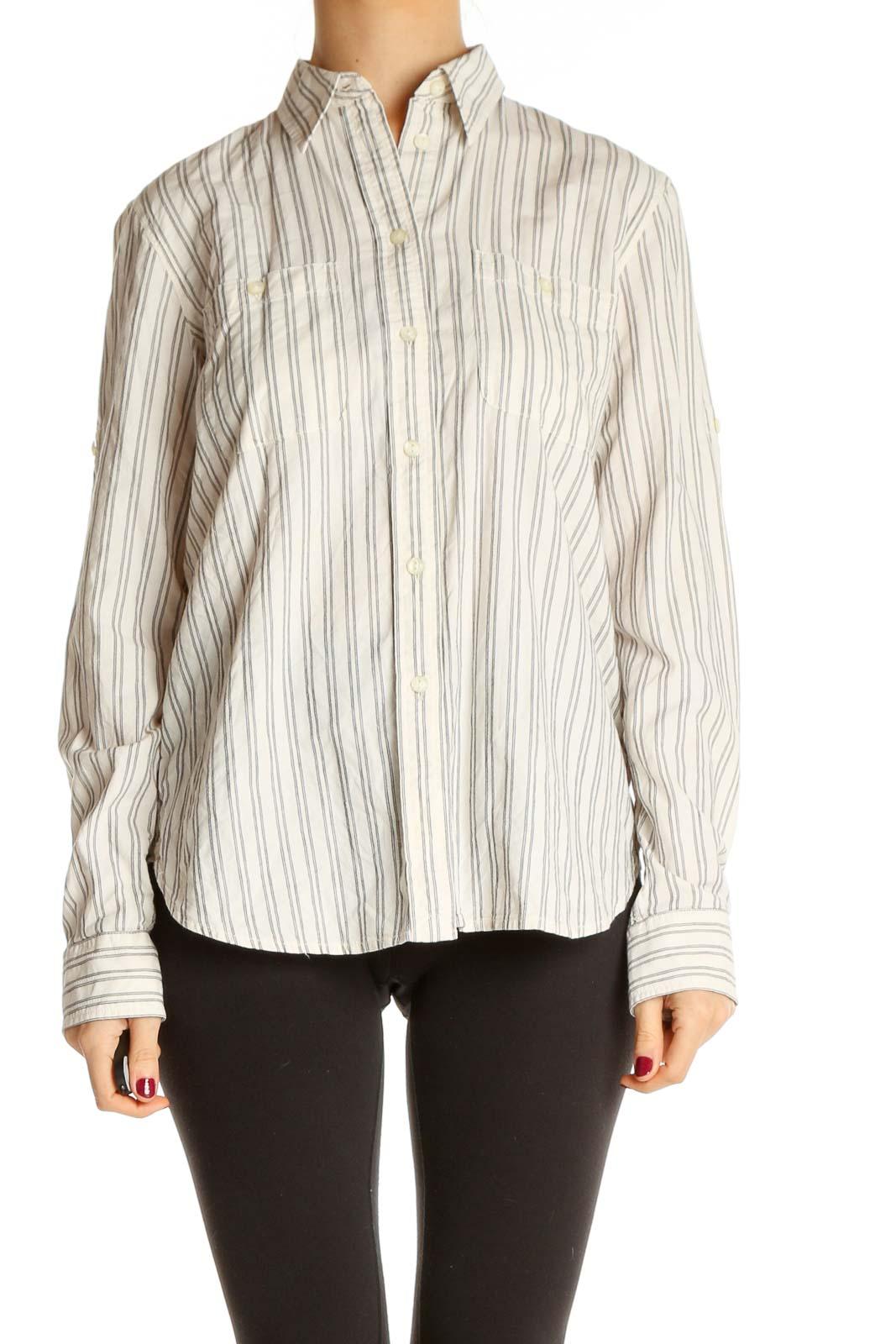 Beige Striped Formal Shirt Front