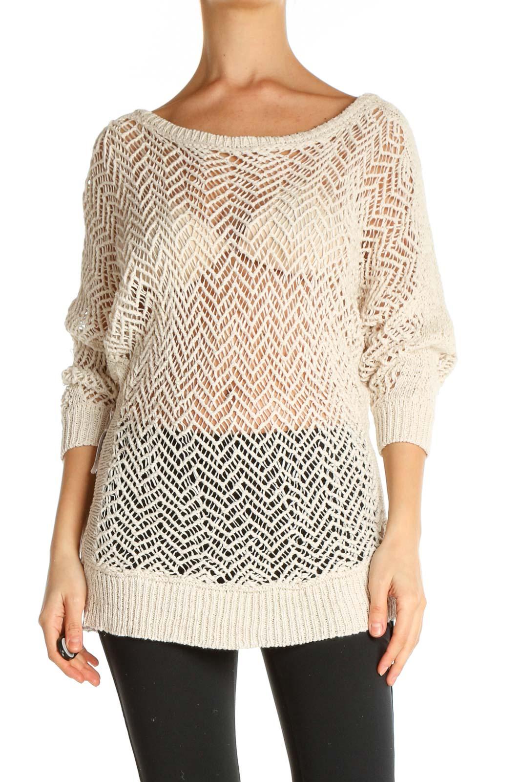 Beige Chevron All Day Wear Sweater Front