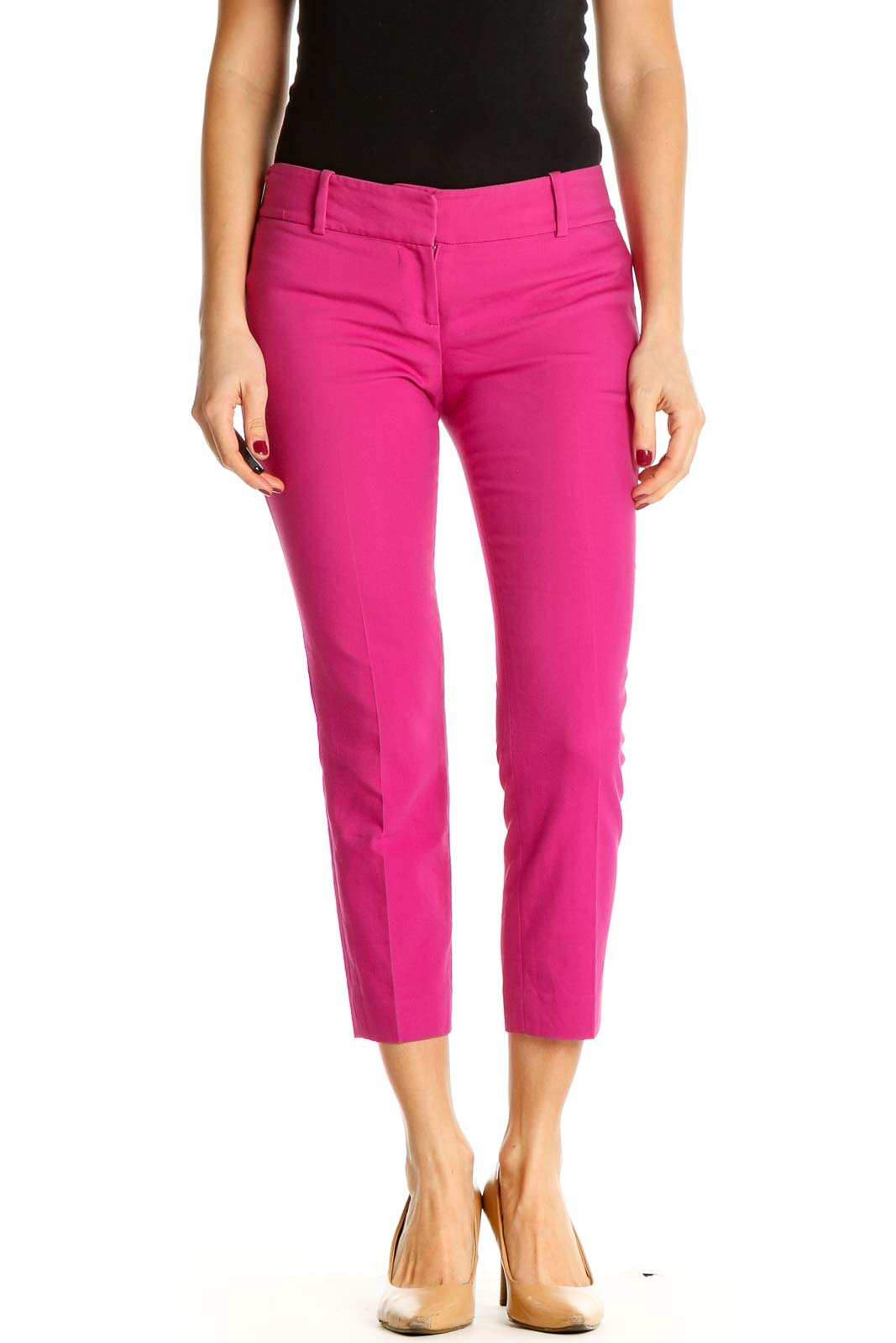 Pink Solid All Day Wear Leggings Front