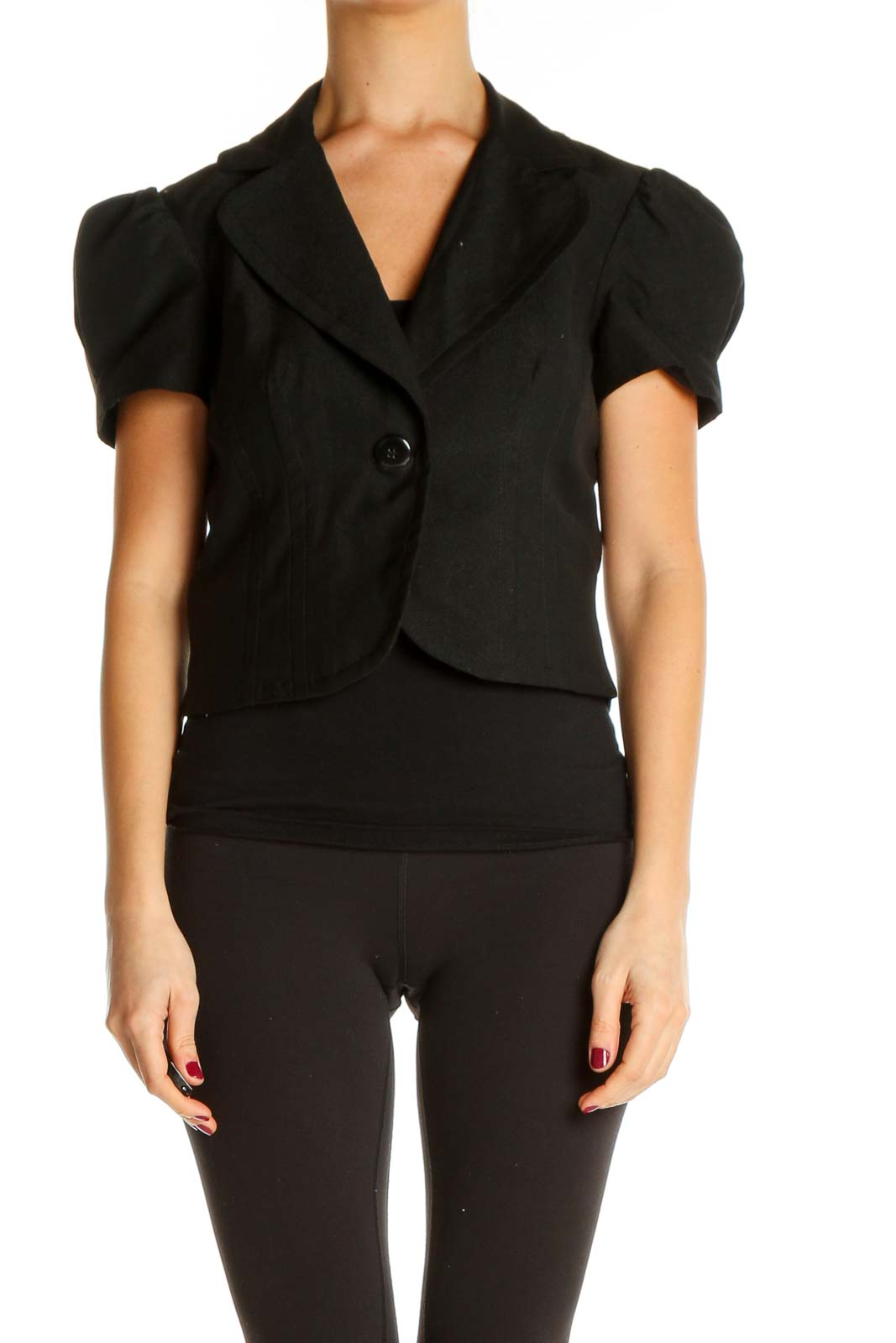 Black Solid All Day Wear Shirt Front