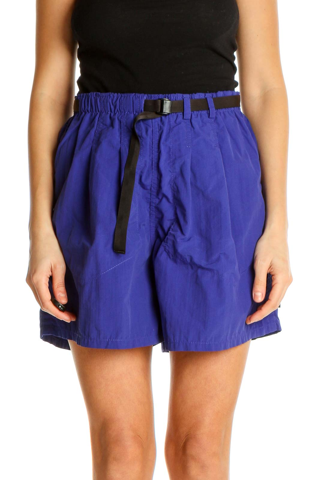 Blue Solid Retro Shorts Front