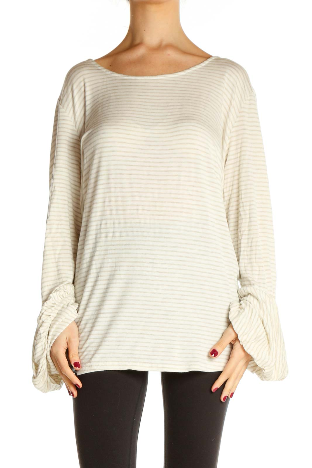 Beige Striped All Day Wear Sweater Front