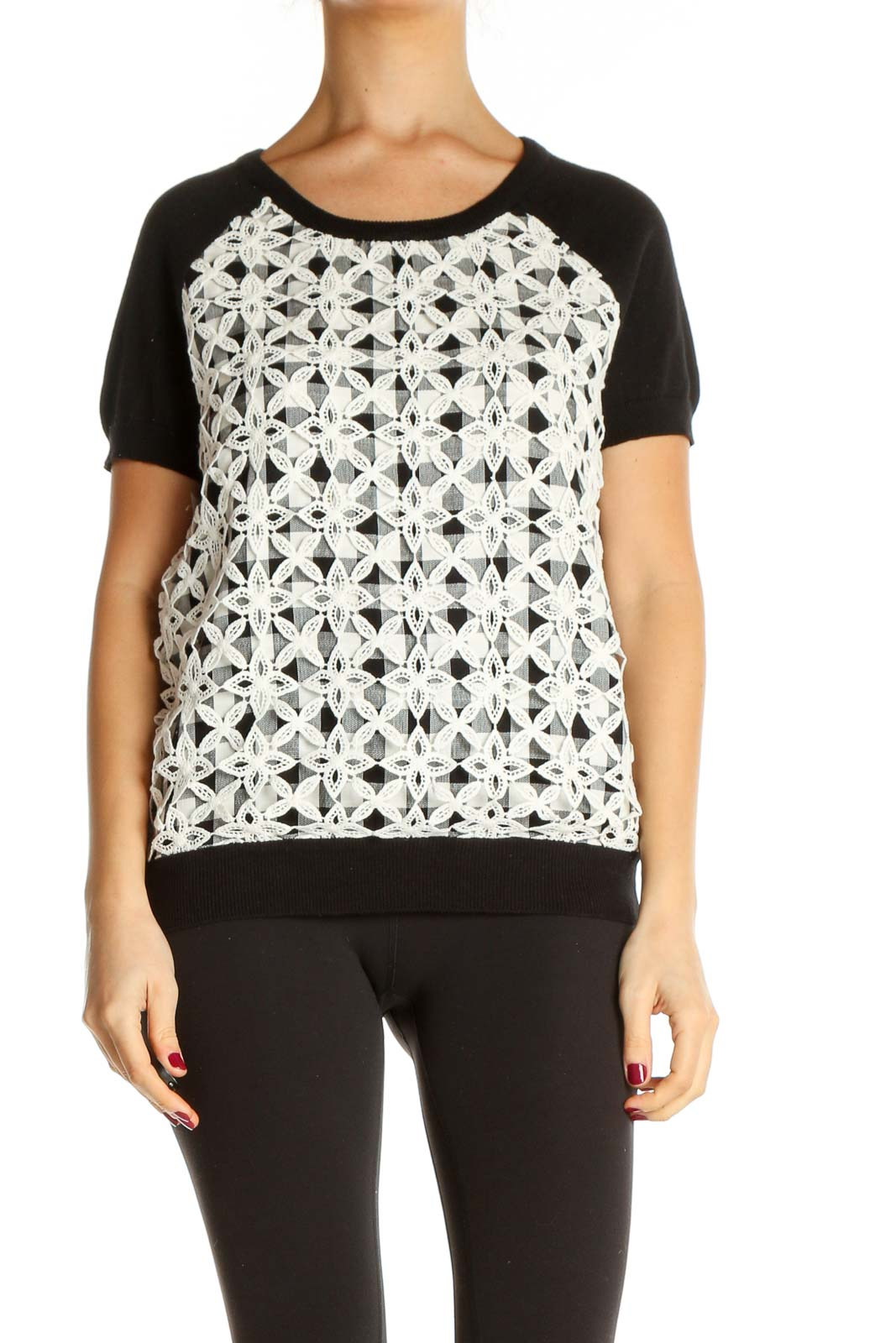 White Geometric Print All Day Wear T-Shirt Front