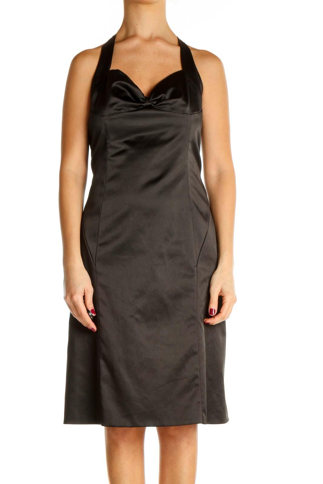 Black Solid Cocktail Sheath Dress Front
