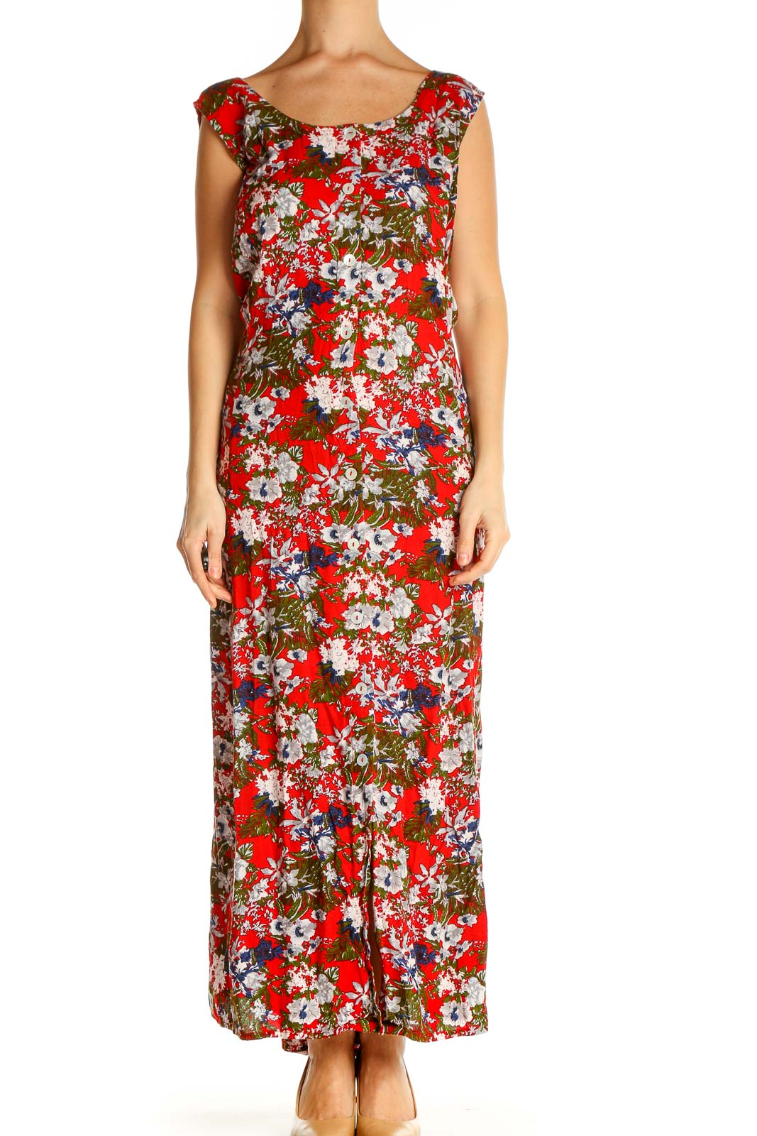 Red Floral Print Day Column Dress Front