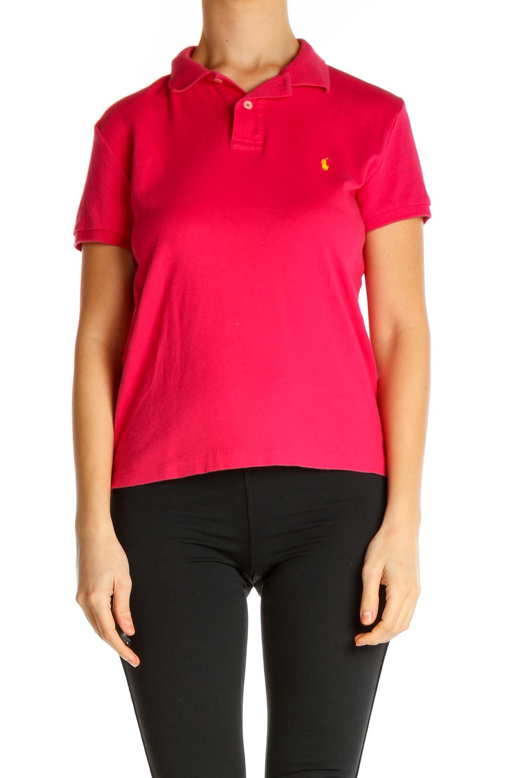 Pink Solid Polo Shirt Front