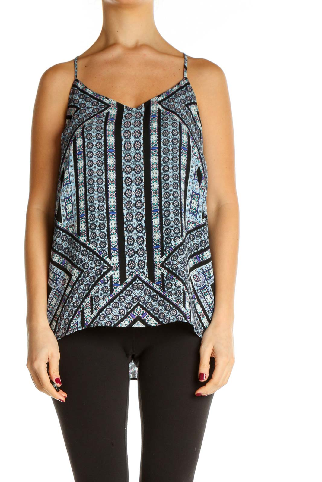 Black Printed Holiday Top Front