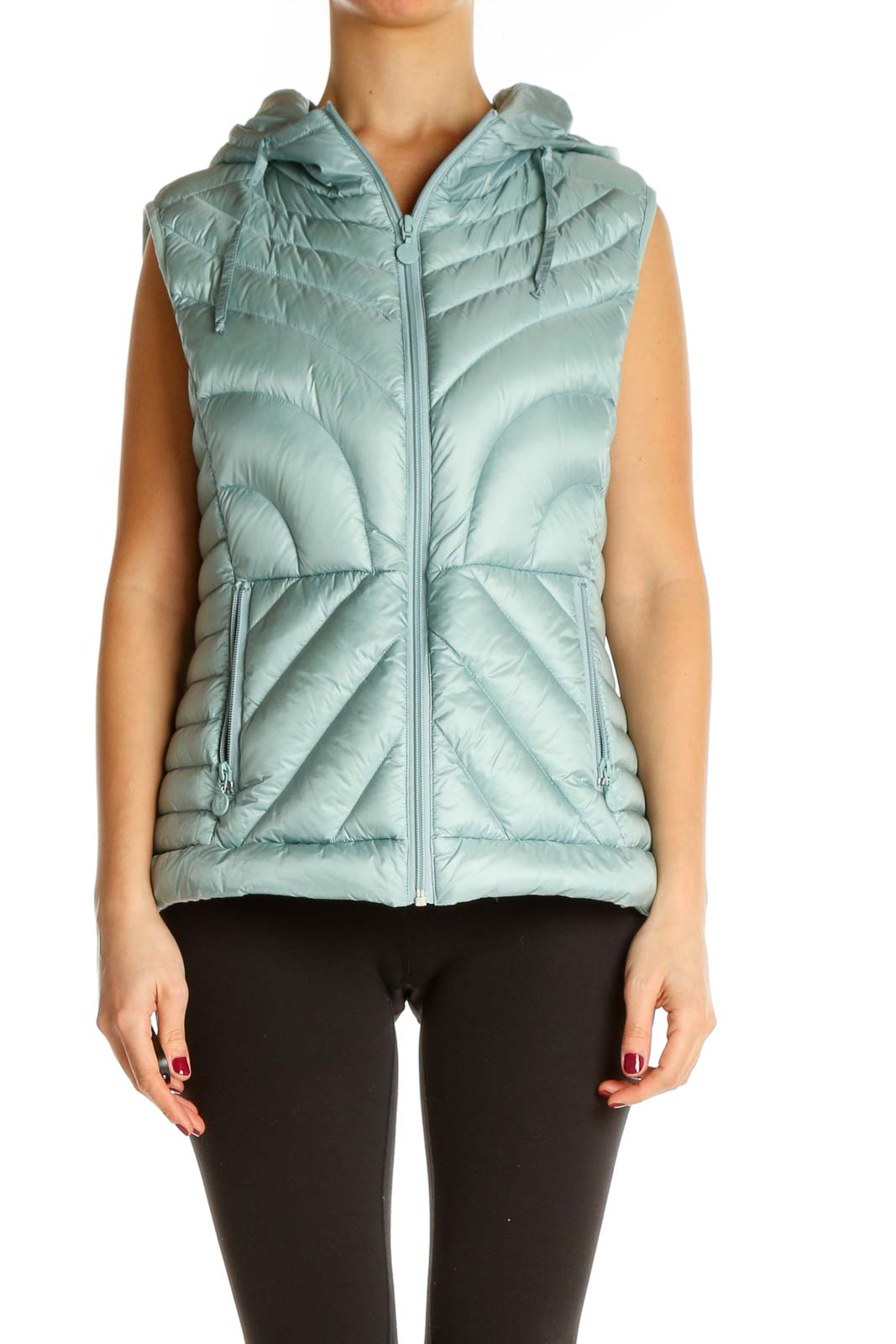 Blue Quilted Vest Jacket Front