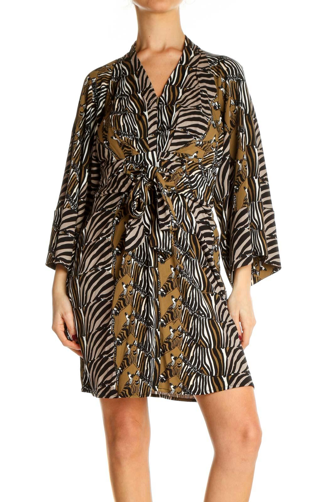 Black Animal Print Day Sheath Dress Front