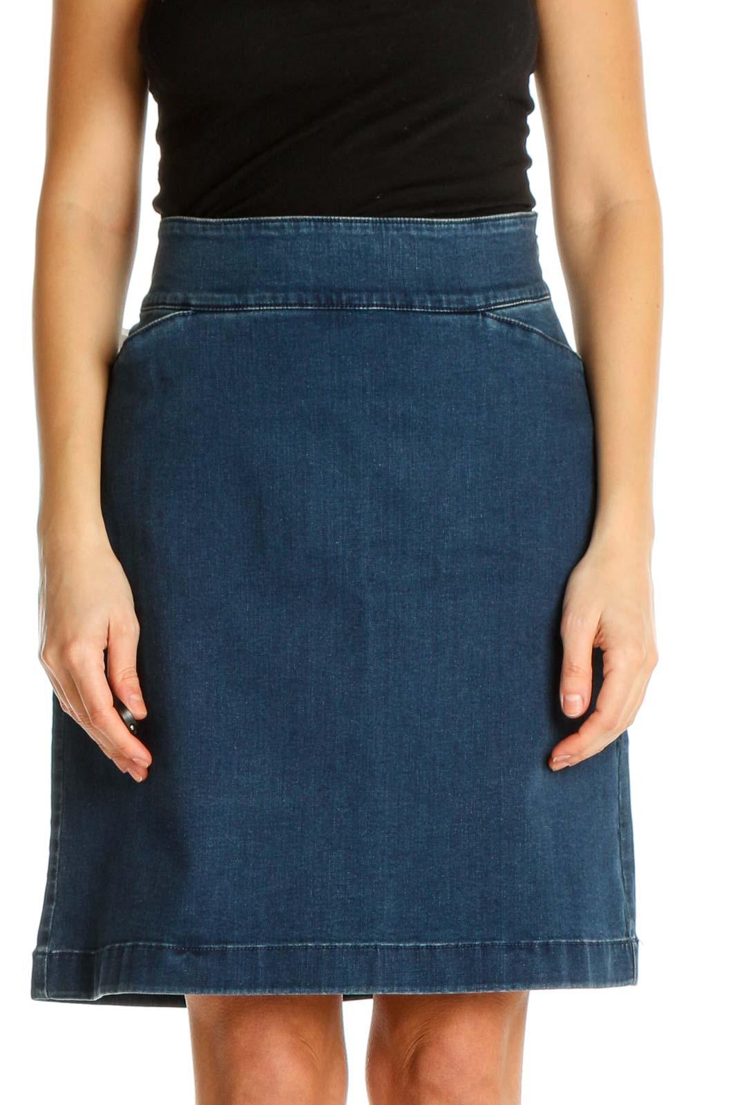 Blue Textured Classic A-Line Skirt Front