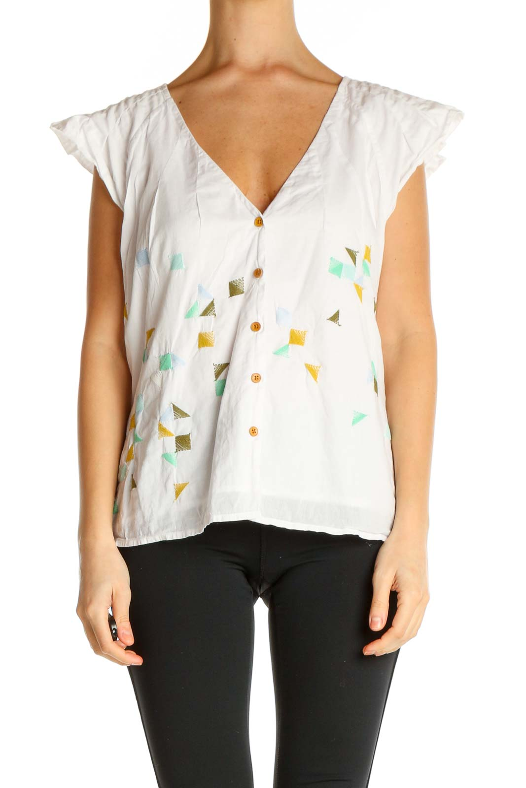 White Textured All Day Wear Blouse Front