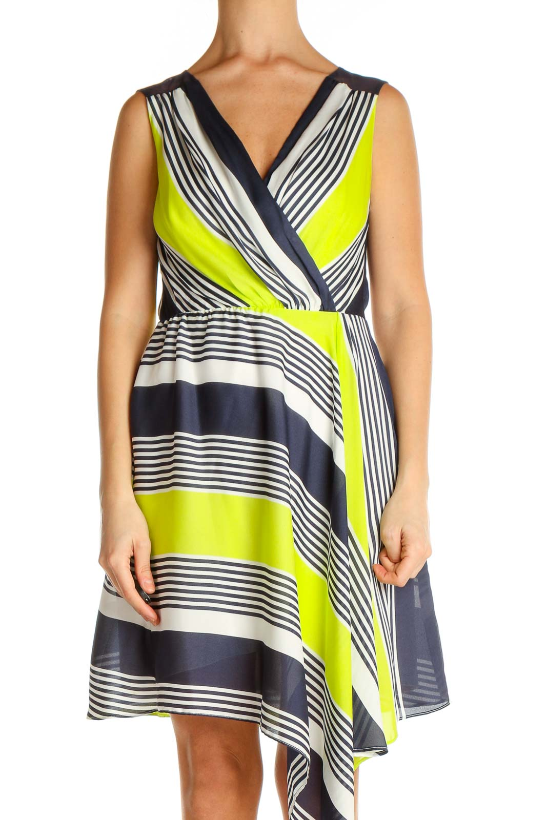 Yellow Striped Fit & Flare Dress Front