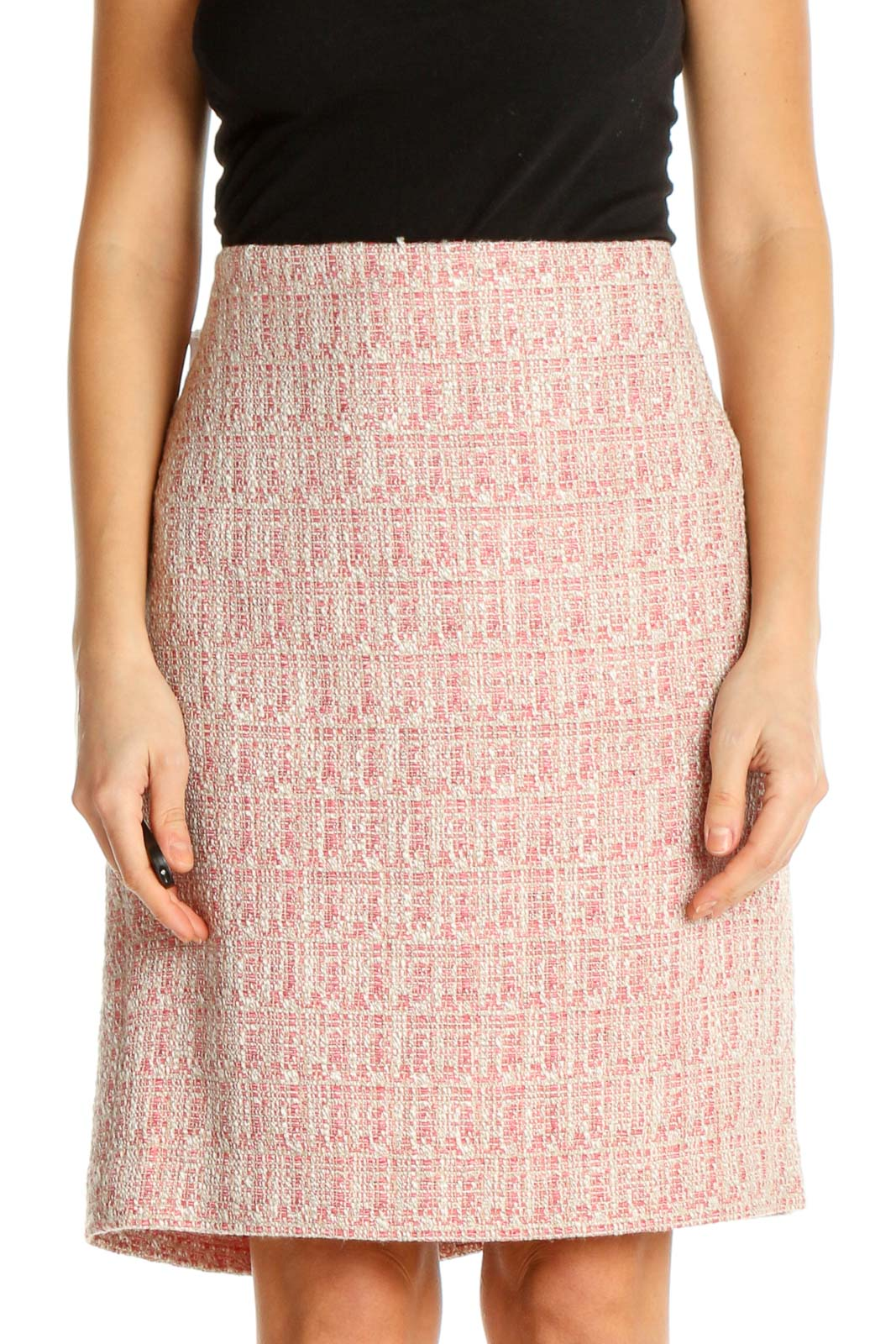 Pink Printed All Day Wear A-Line Skirt Front