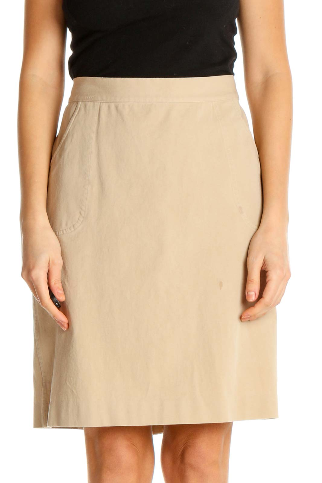Beige Solid Party Pencil Skirt Front