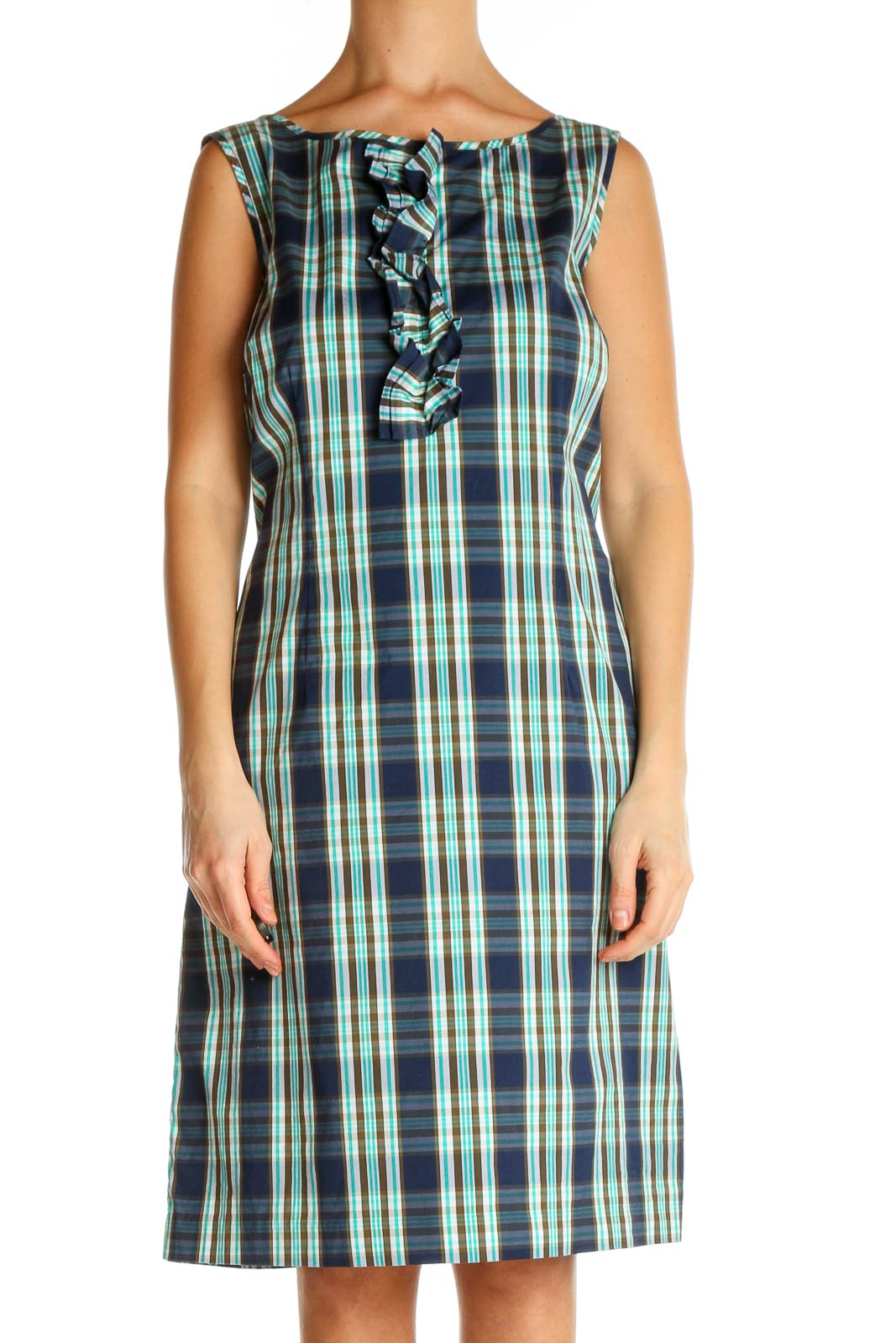 Blue Checkered Day A-Line Dress Front