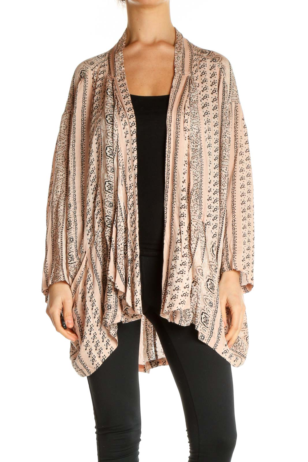Beige Printed Cardigan Front