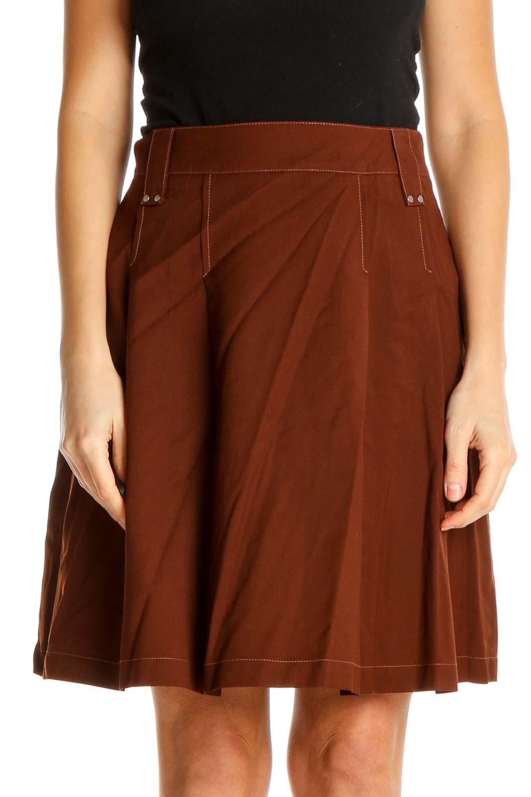 Brown Solid Brunch Flared Skirt Front