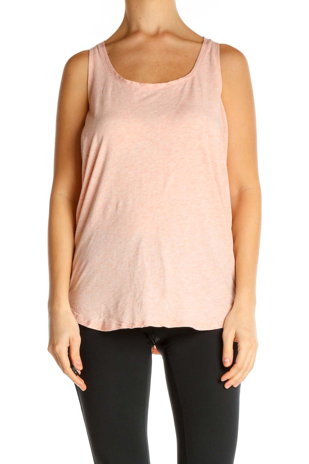 Pink Solid Tank Top Front