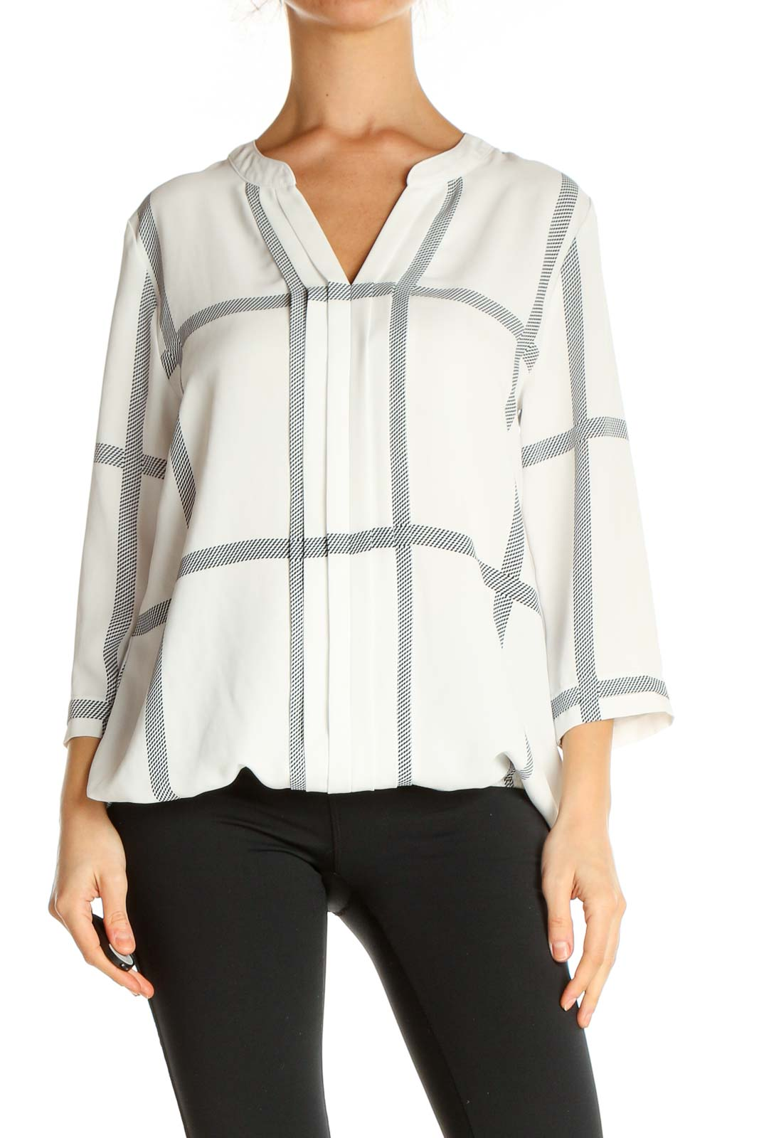 White Printed All Day Wear Blouse Front