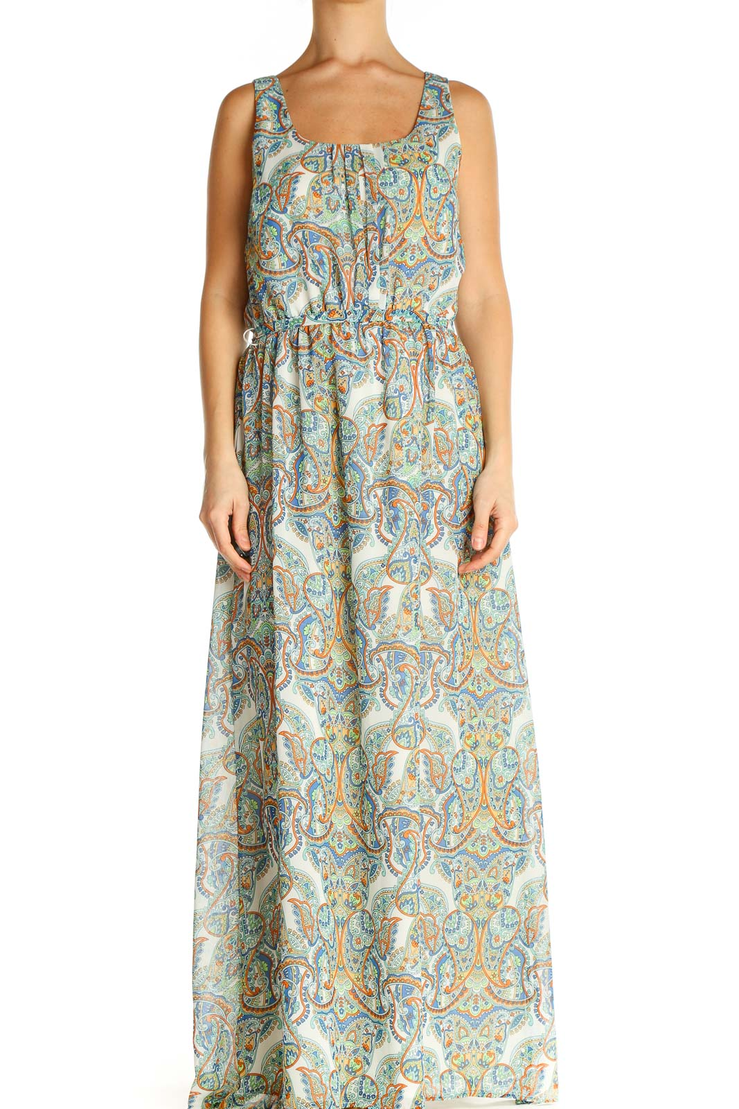 Green Paisley Holiday Fit & Flare Dress Front