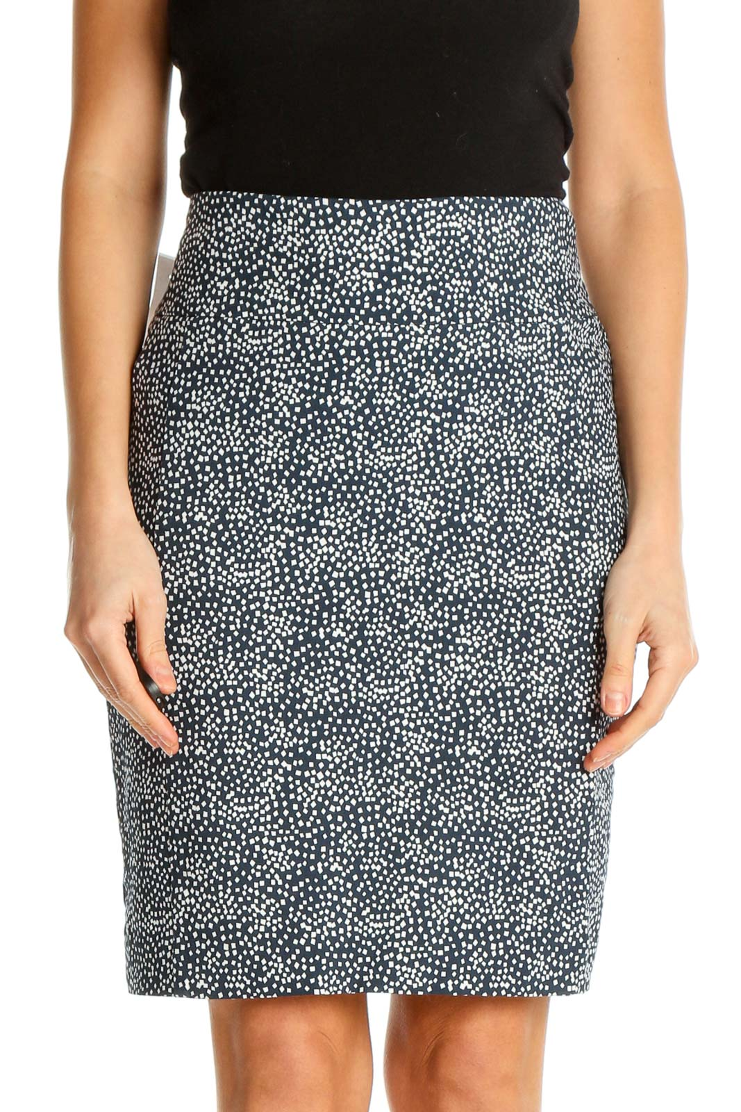 Blue Printed Classic Pencil Skirt Front