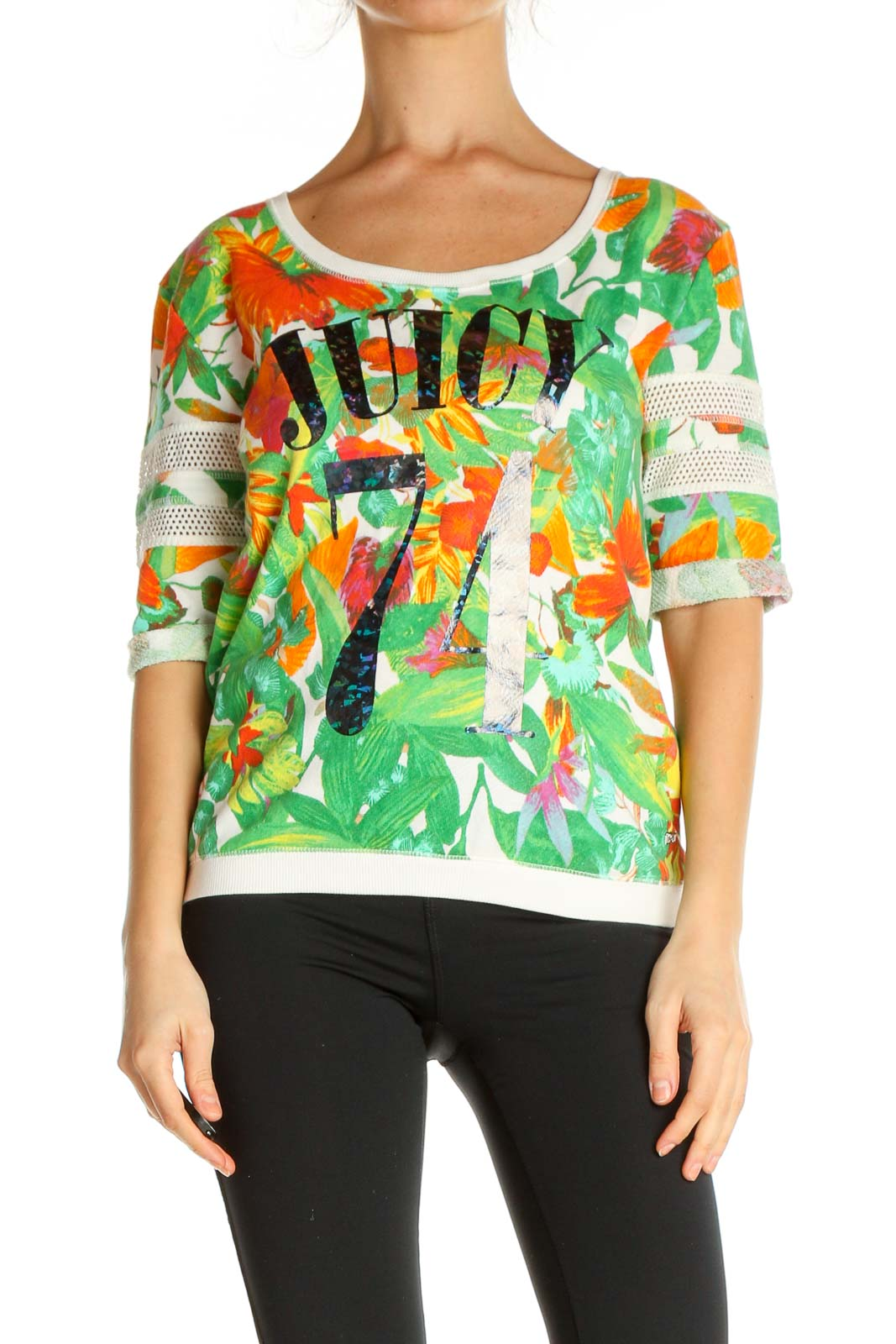 Green Printed Casual T-Shirt Front
