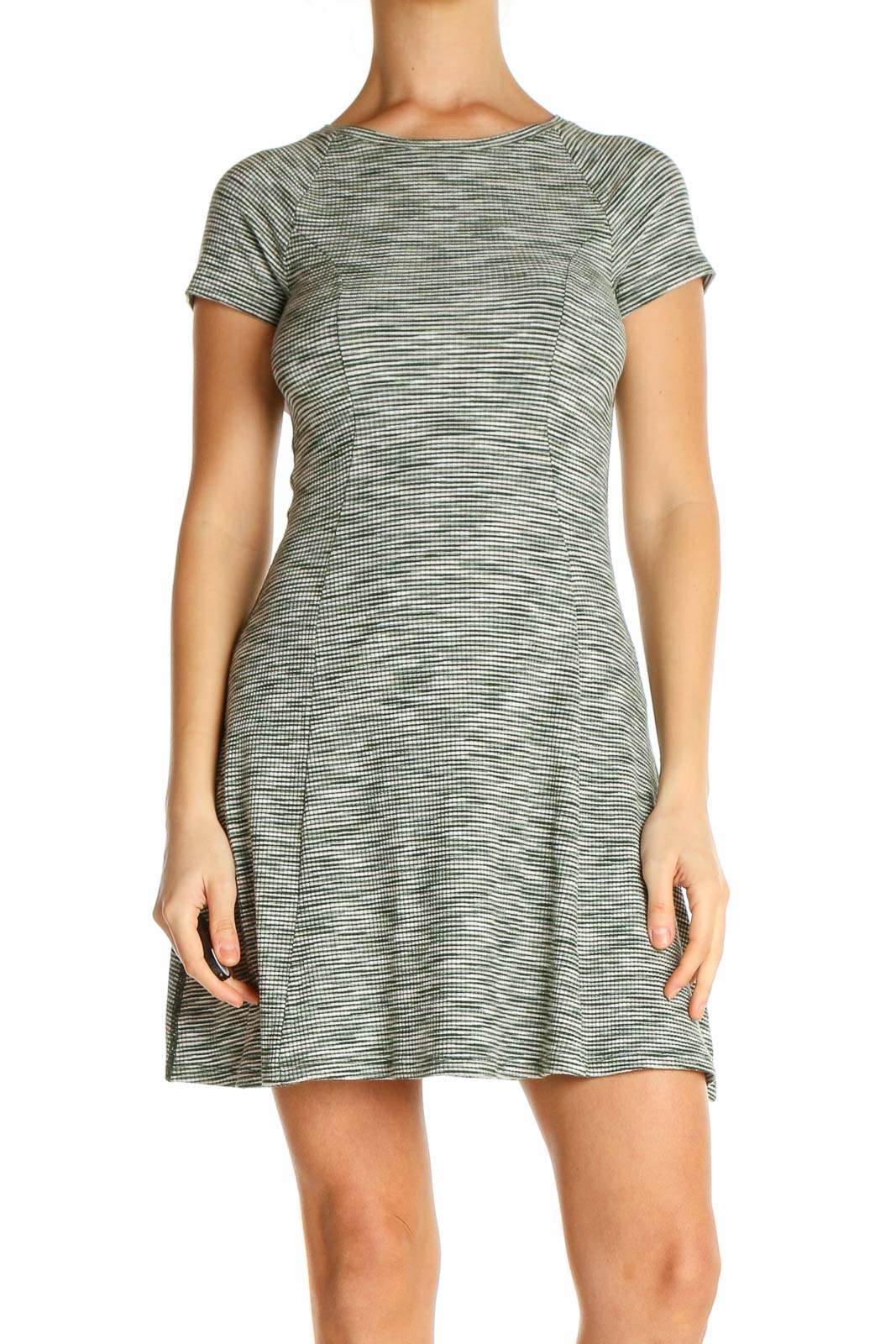Green Textured Day Fit & Flare Dress Front
