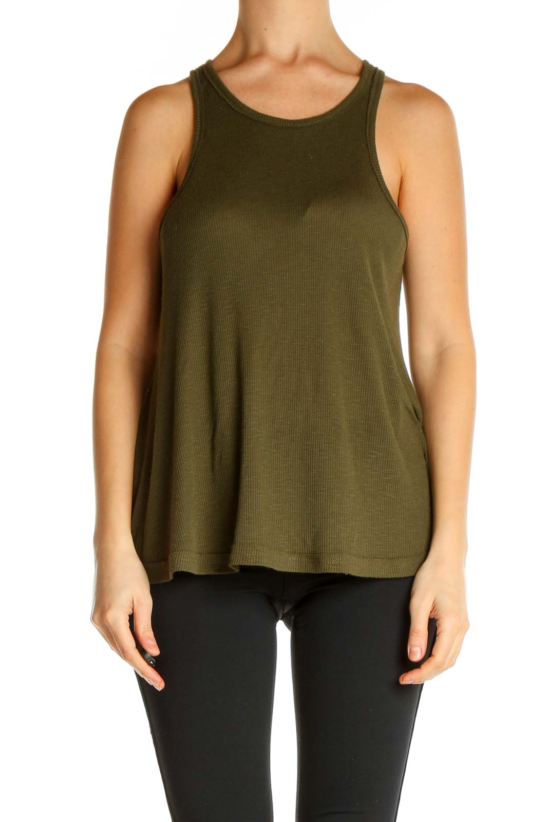 Green Solid All Day Wear Tank Top Front