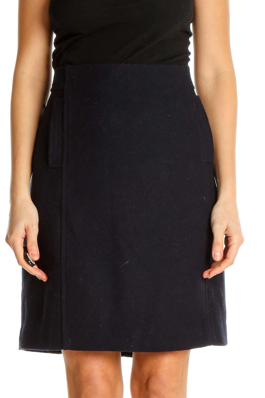 Black Colorblock Brunch A-Line Skirt Front