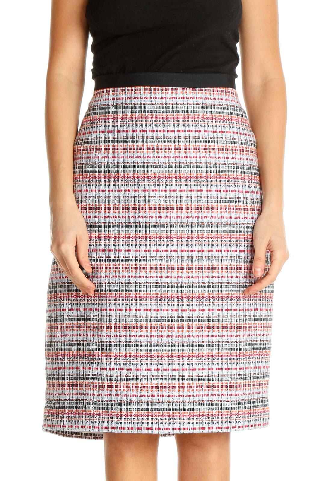 White Printed Brunch Straight Skirt Front