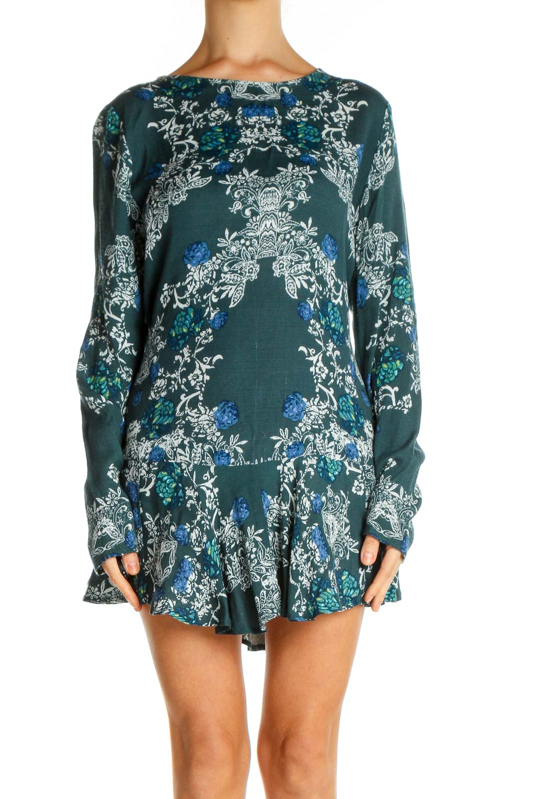 Green Floral Print Holiday Sheath Dress Front