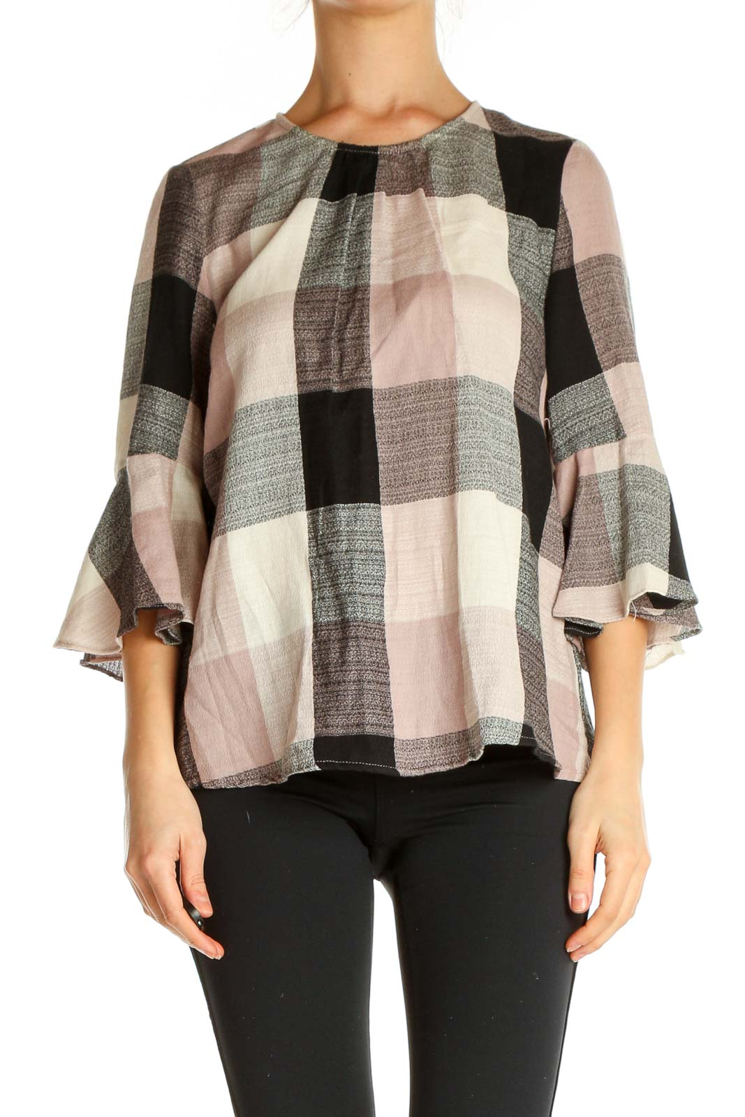 Gray Checkered Chic Sweater Front