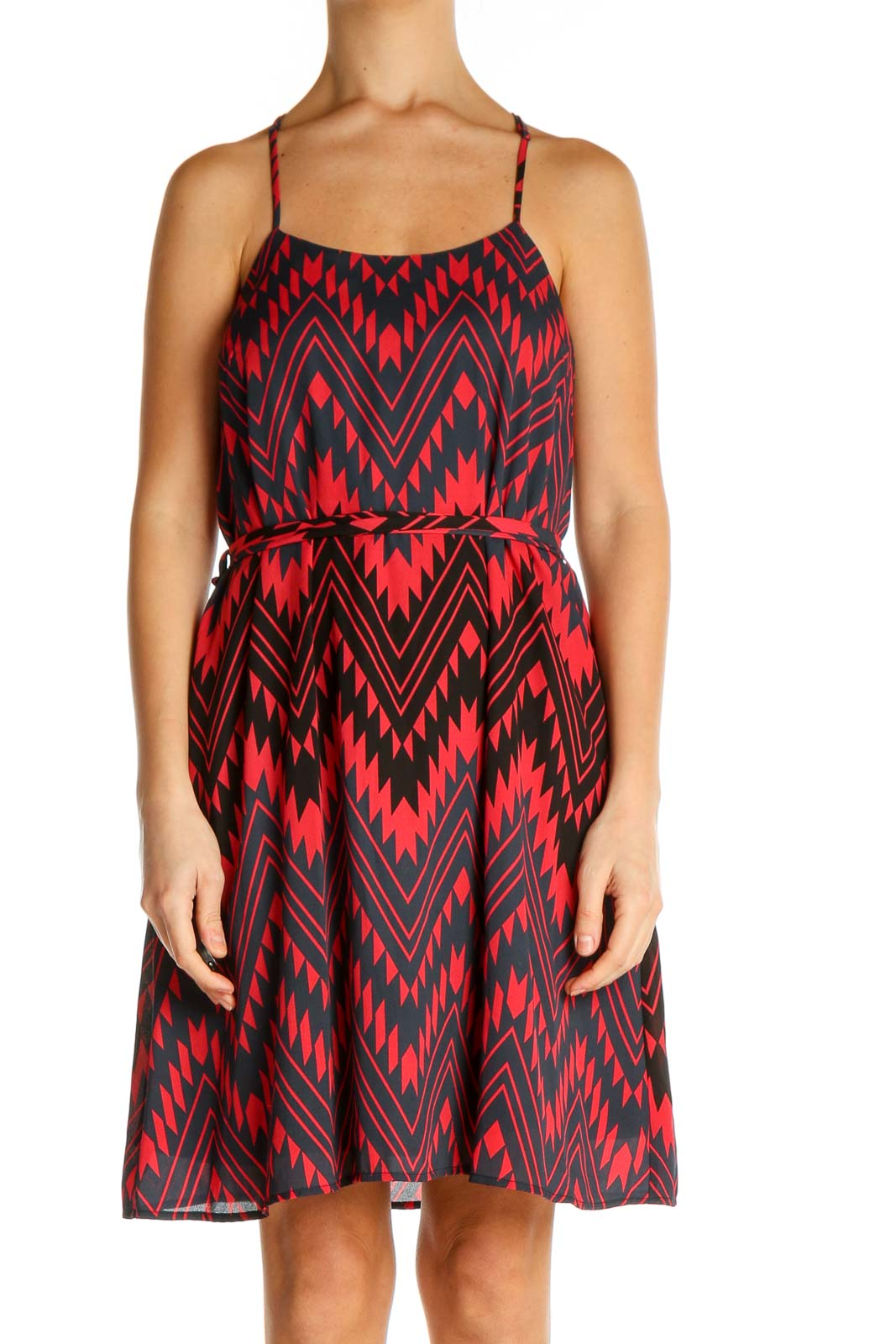 Red Chevron Day Fit & Flare Dress Front