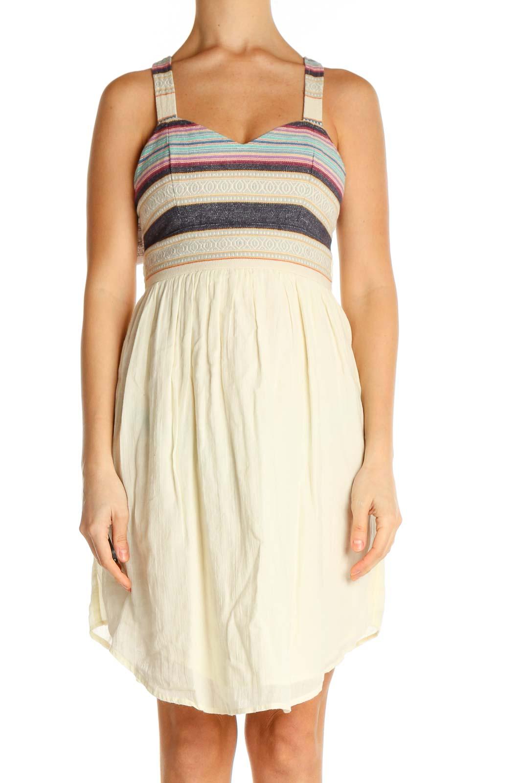 Beige Striped Fit & Flare Dress Front