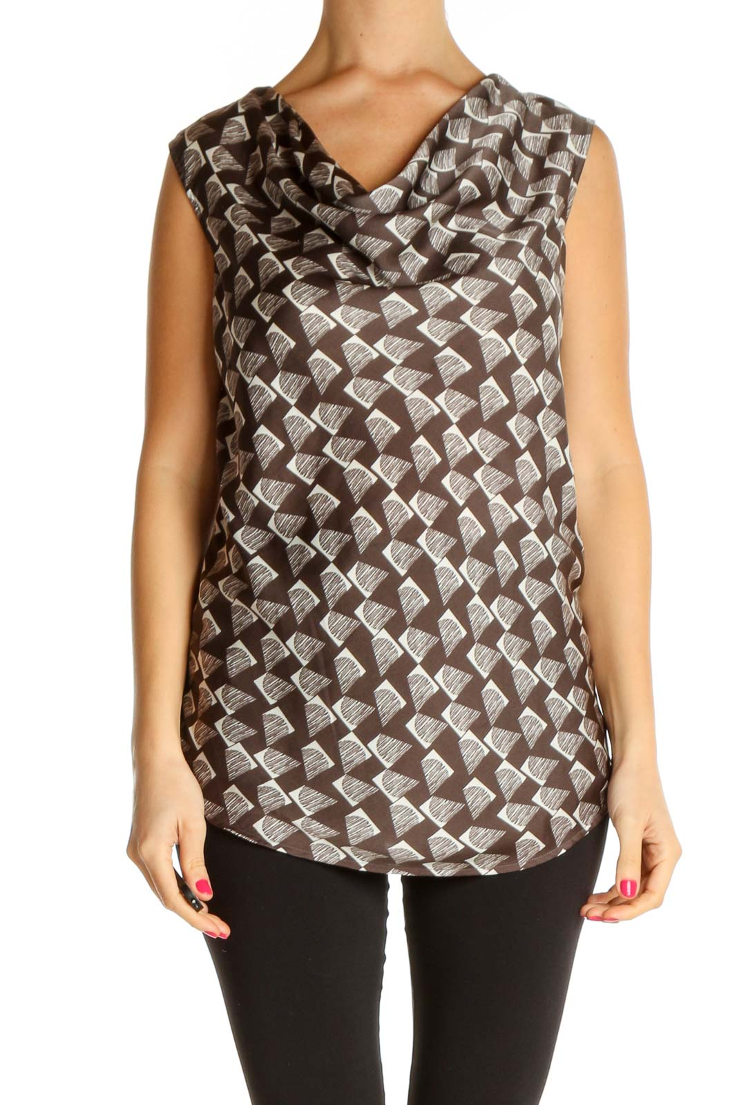 Brown Geometric Print All Day Wear Blouse Front