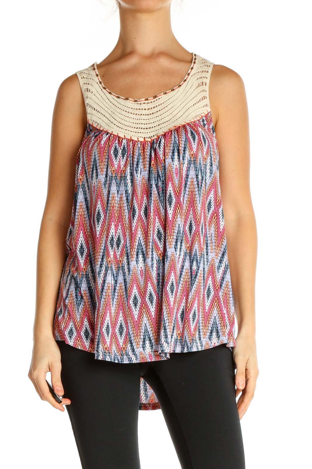Pink Textured Holiday Tank Top Front