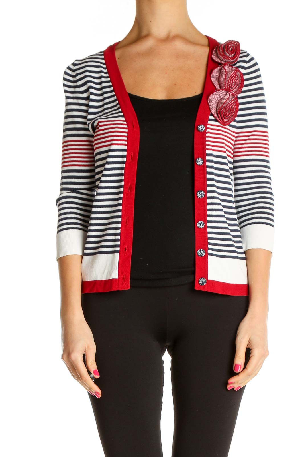 Red Striped All Day Wear Cardigan Front