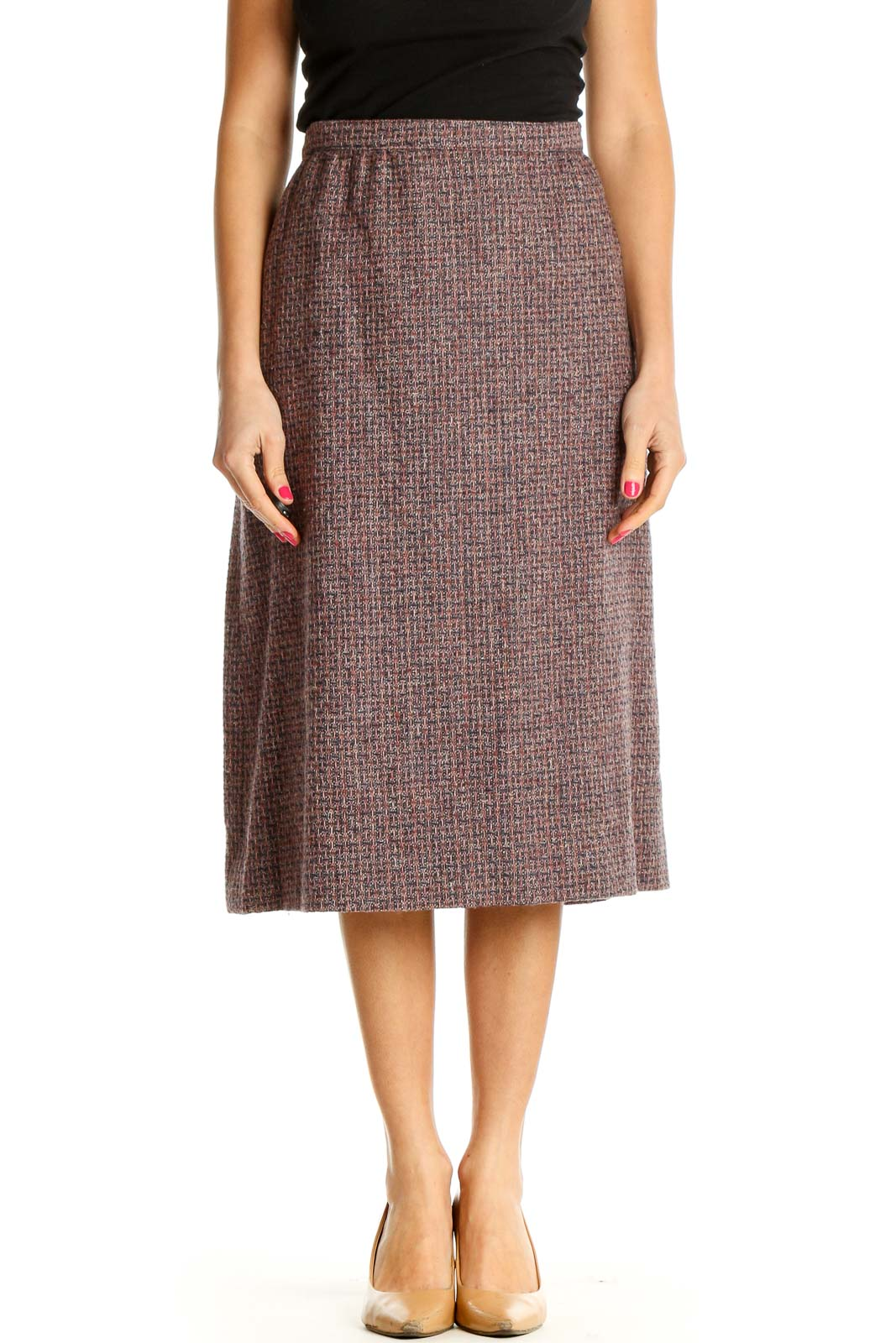 Brown Solid Brunch A-Line Skirt Front