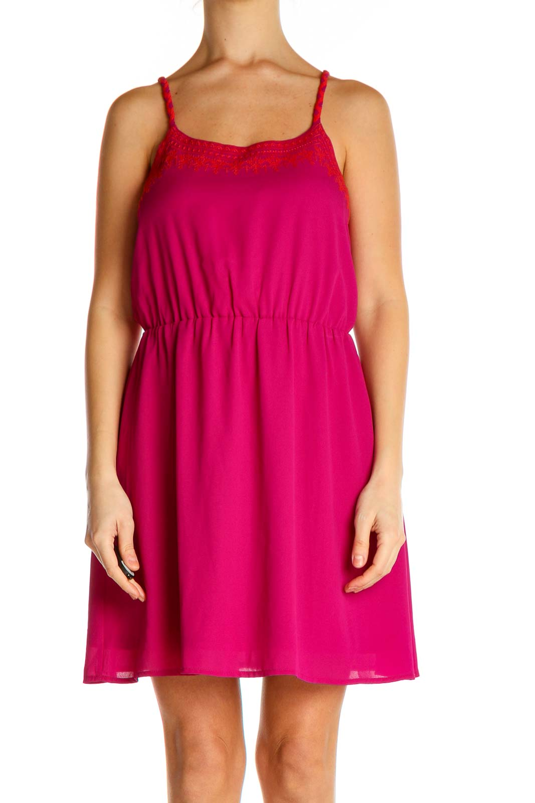 Pink Solid Fit & Flare Dress Front