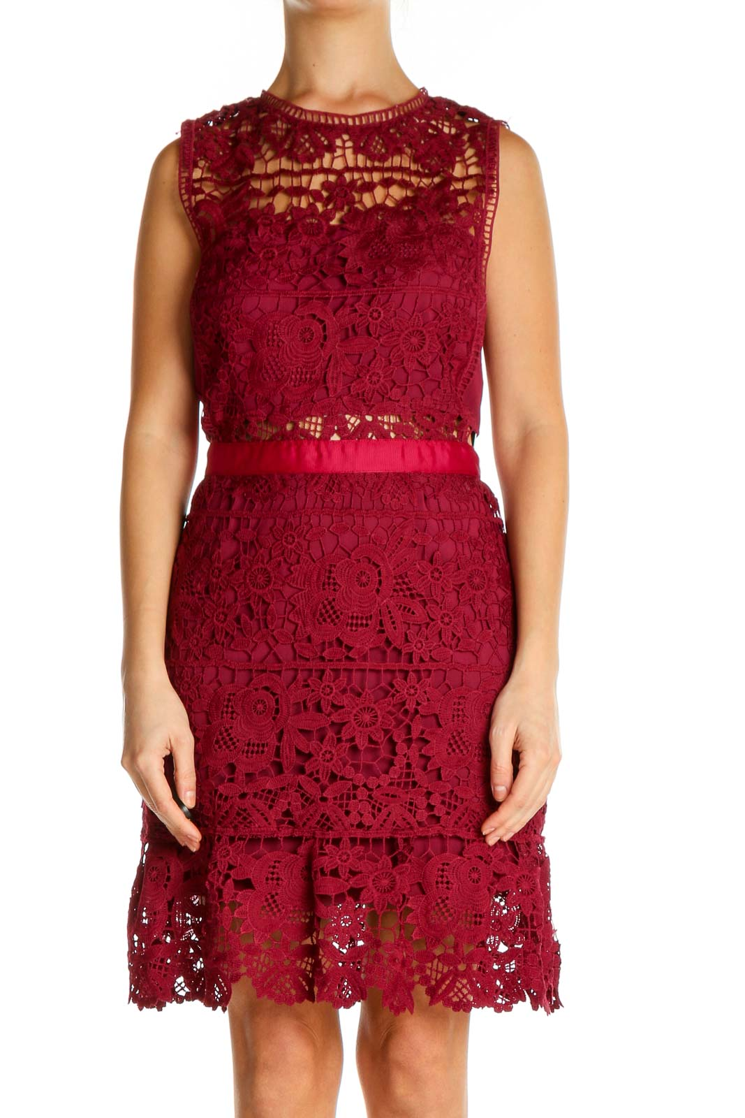 Red Lace Day Fit & Flare Dress Front