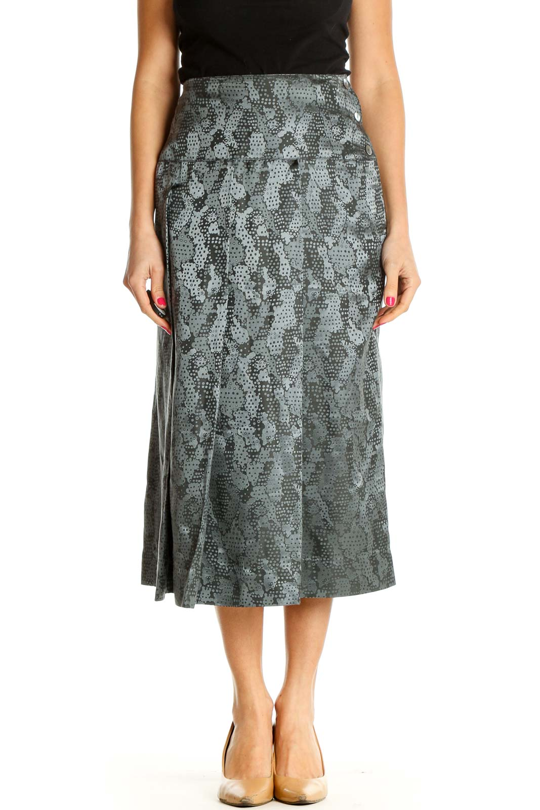 Gray Animal Print Holiday A-Line Skirt Front