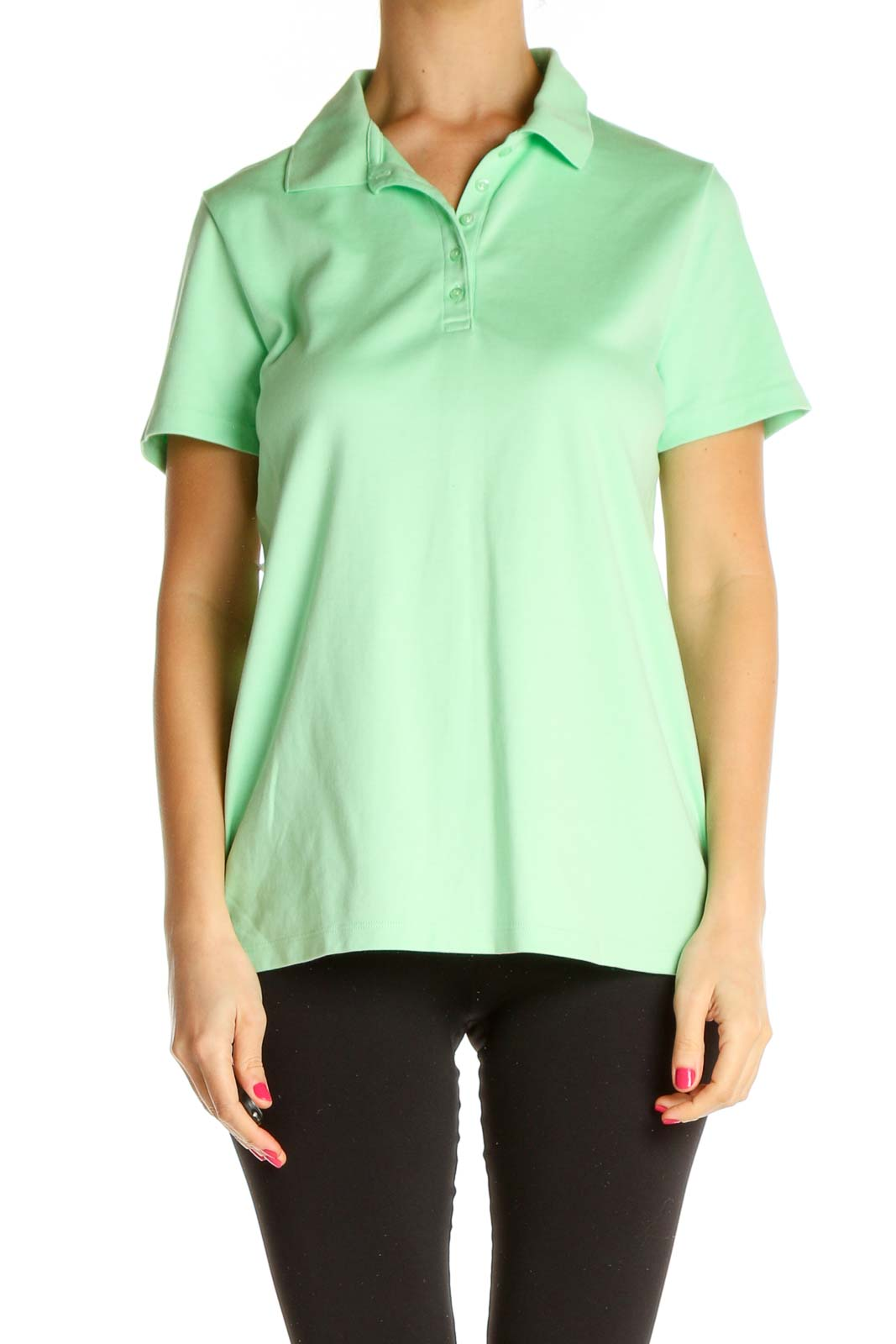 Green Solid All Day Wear Polo Shirt Front