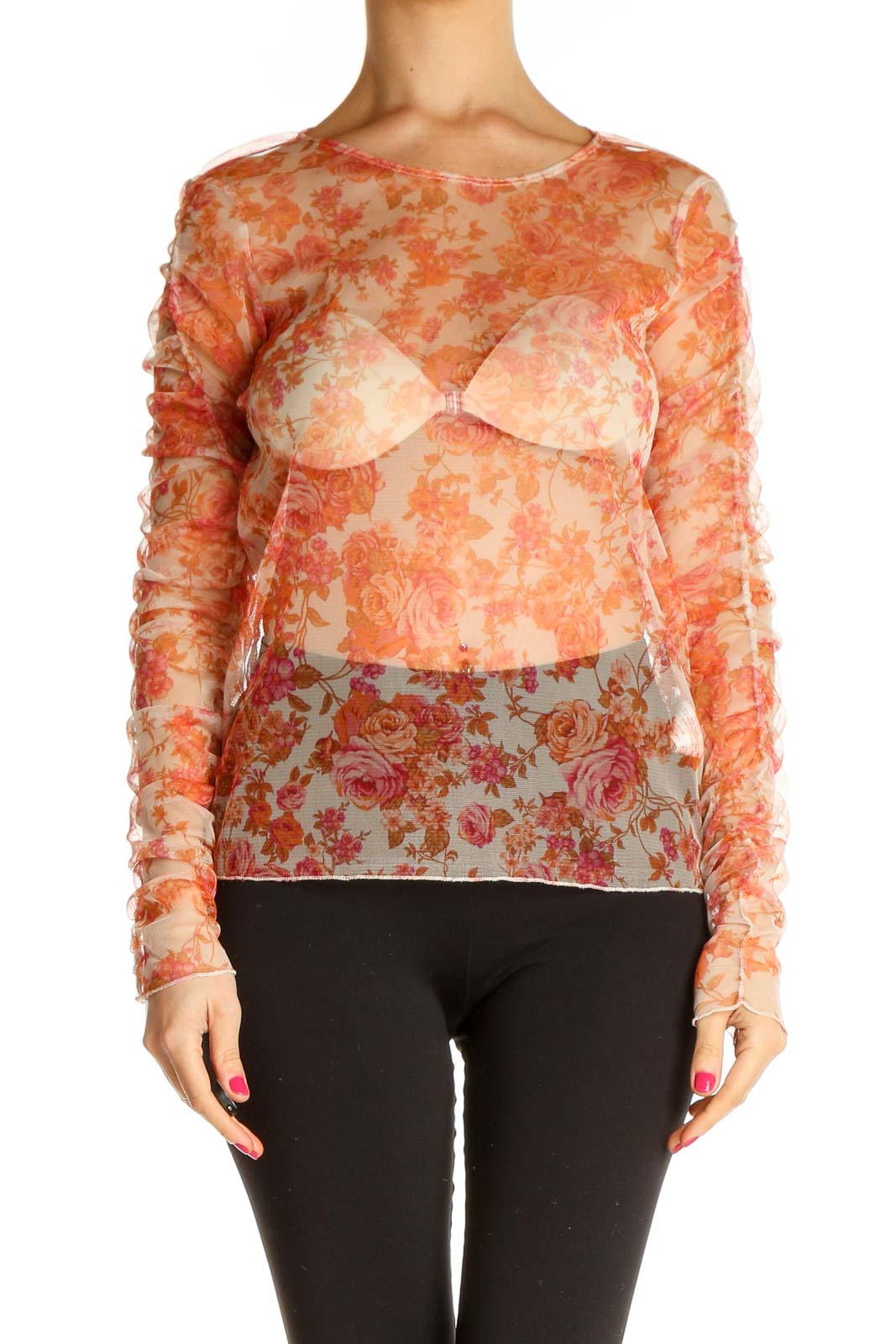 Brown Printed Chic Blouse Front