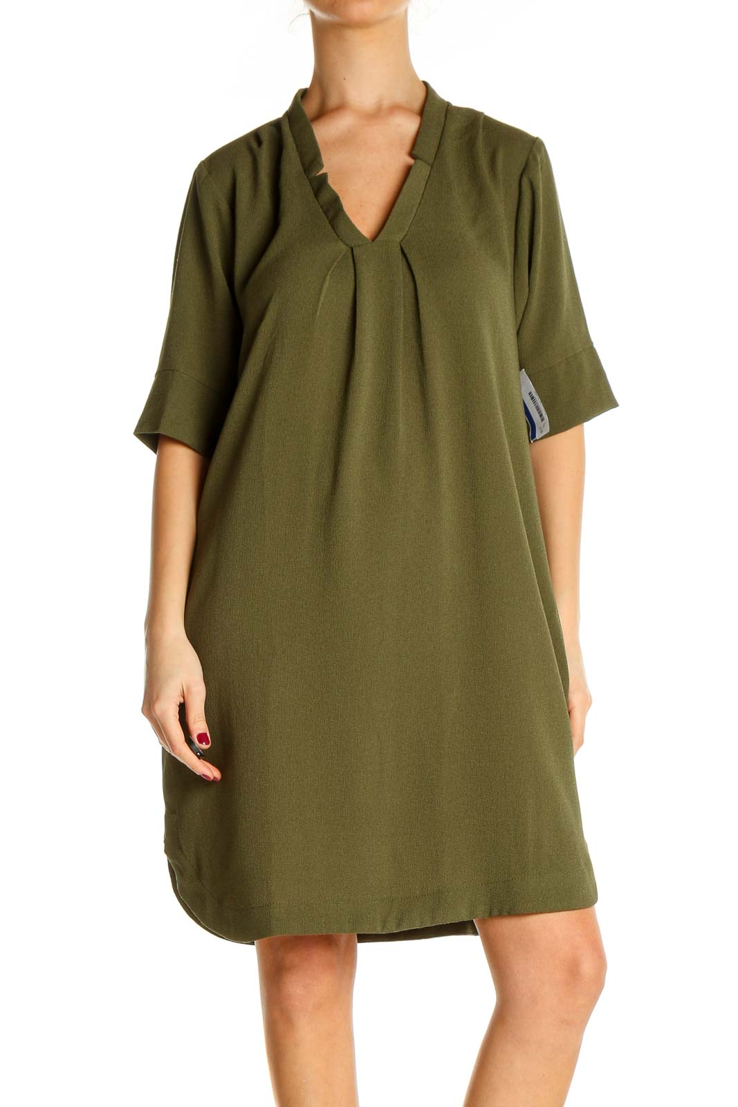Green Solid Classic A-Line Dress Front