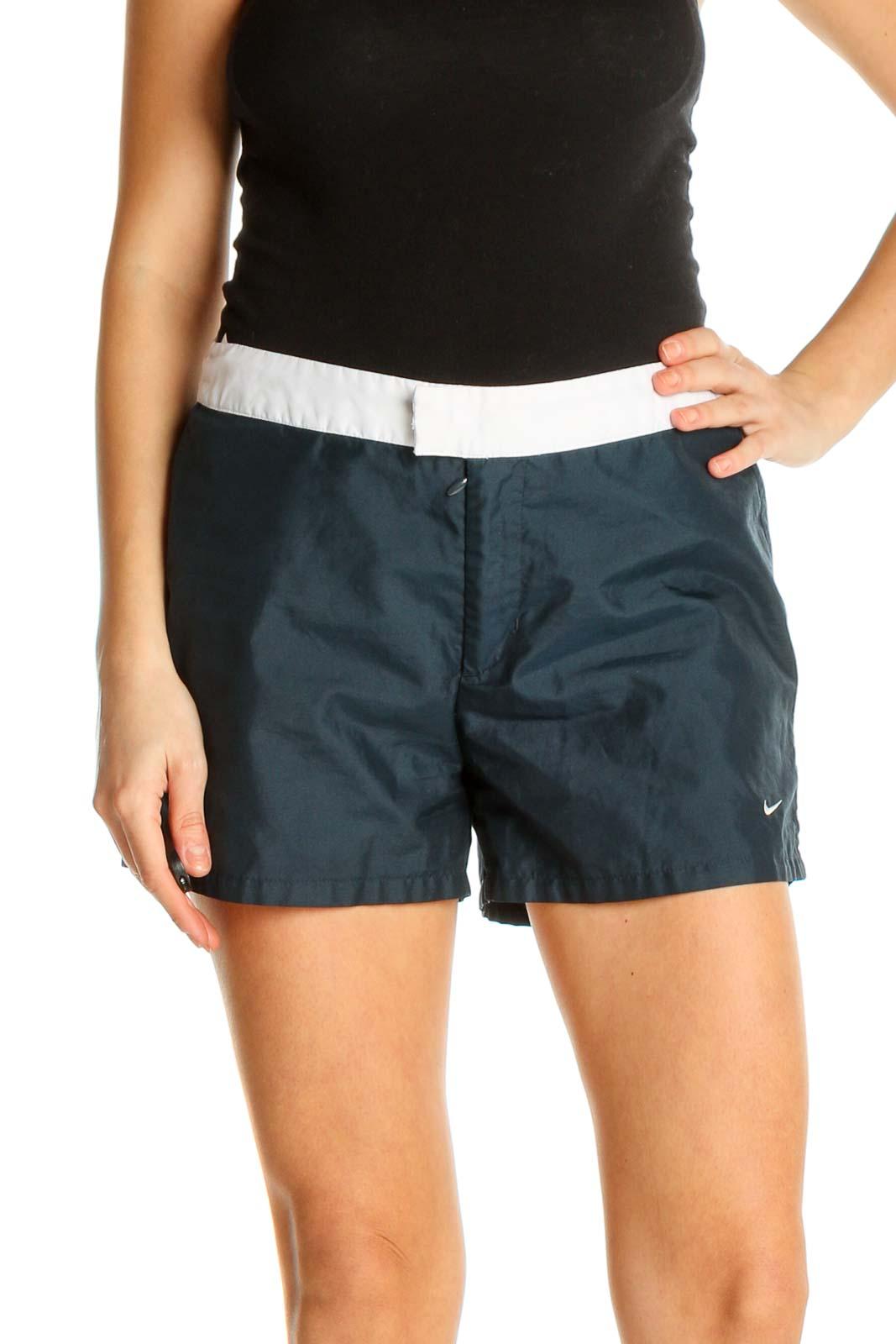 Blue Colorblock Activewear Shorts Front