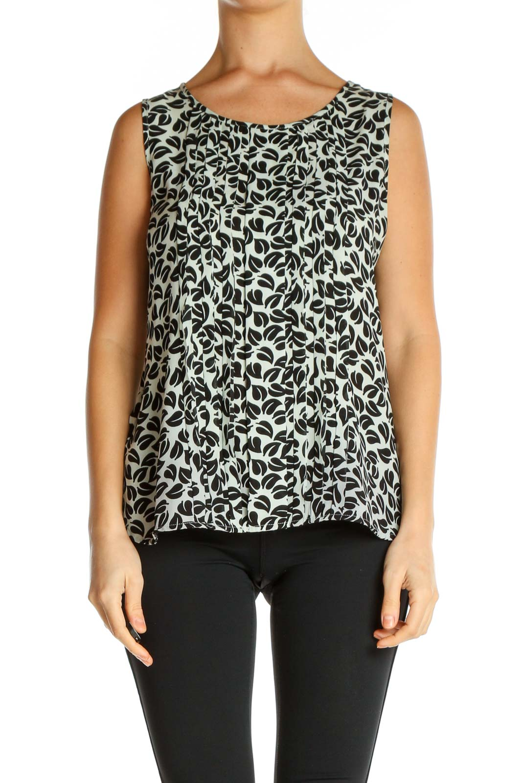 Gray Animal Print All Day Wear Blouse Front