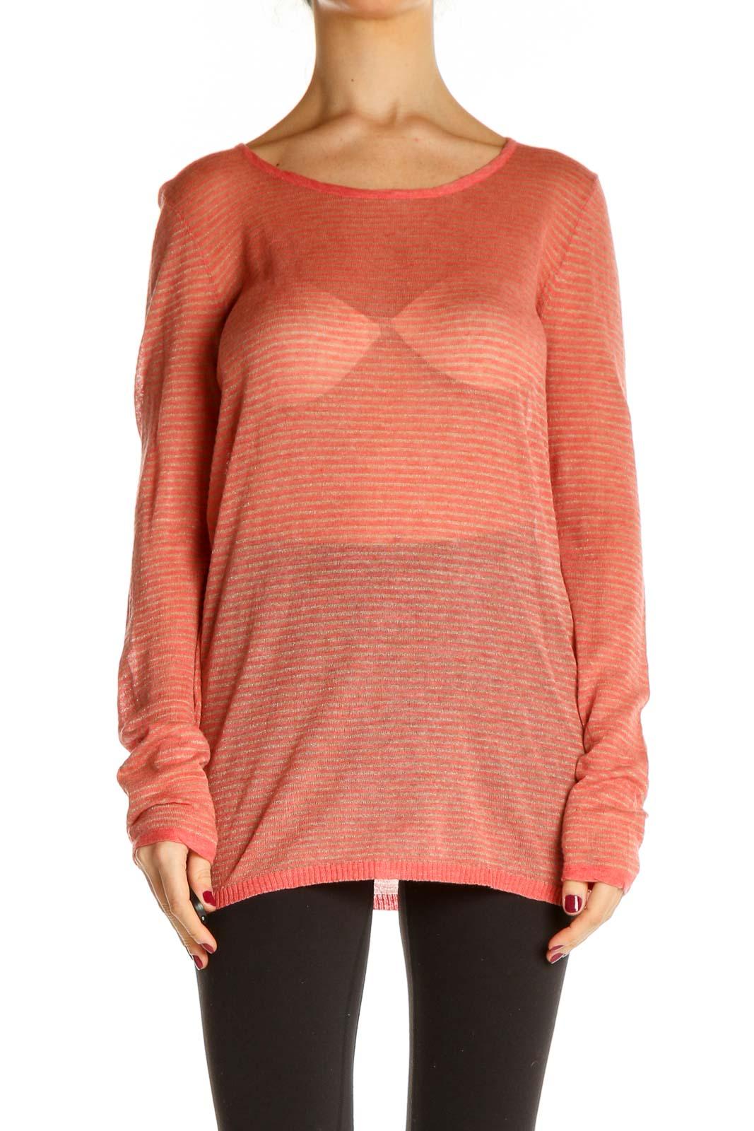 Orange Textured Sweater Front