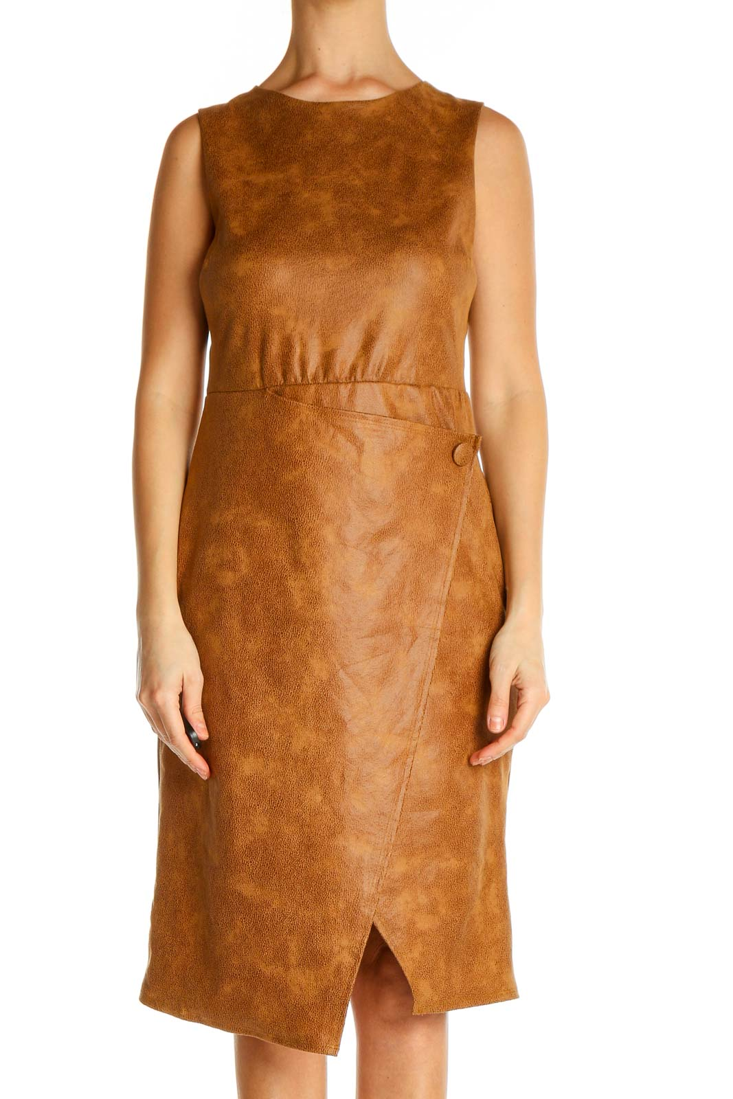 Brown Solid Day Sheath Dress Front